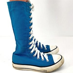 Converse Girls Knee High Sneakers Blue Canvas 12